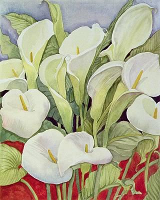 Still Life Of Flowers Painting - Arum Lillies by Llian Delevoryas