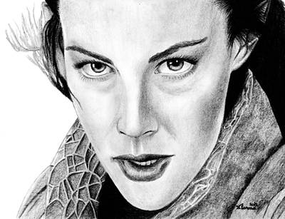 Black Ring Drawing - Arwen Undomiel by Kayleigh Semeniuk