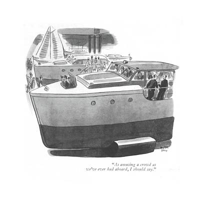Food And Beverage Drawing - As Amusing A Crowd As We've Ever Had Aboard by Robert J. Day