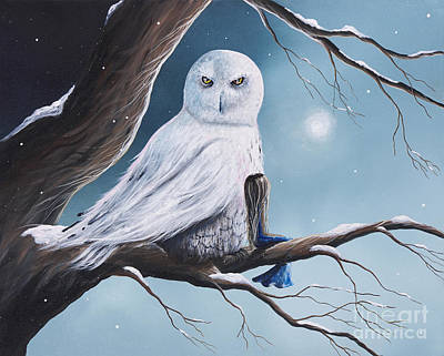 Birds In Snow Wall Art - Painting - White Snow Owl Painting by Erback Art