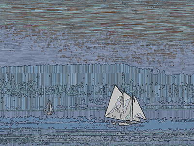 Digital Art - As Dusk Sets Over The Sound by Tim Allen