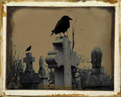 Birds In Graveyard Photograph - Dark Aged Crow Graveyard by Gothicrow Images