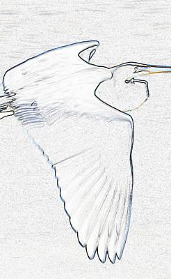 Great White Egrets Digital Art - As Original Work Gw Egret by David Lee Thompson