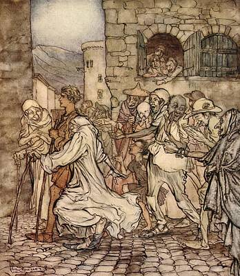 Drawing - As Perseus Walked Along The People by Arthur Rackham