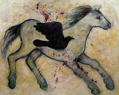 Painting - As The Crow Flies Impasto Horse by Carol Suzanne Niebuhr