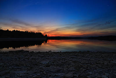 Percy Priest Lake Photograph - As The Dawn Breaks by Christopher  Carden