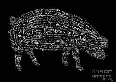 Word Digital Art - As The French Say... Cochon by Marion De Lauzun