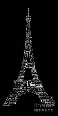 Typographic Digital Art - As The French Say... Eiffel Tower by Marion De Lauzun