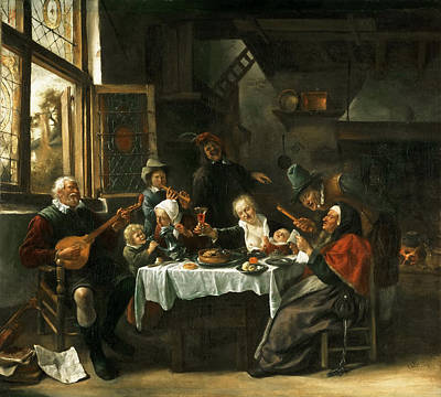 Painting - As The Old Ones Sing So The Young Ones Pipe by Jan Steen