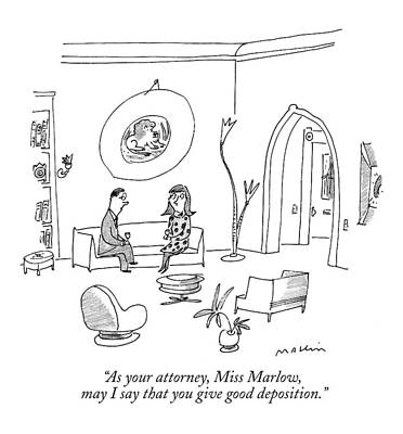 Wine Glasses Drawing - As Your Attorney by Michael Maslin