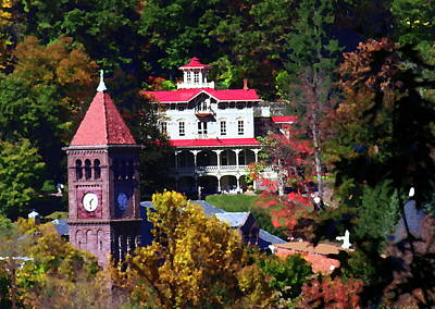 Photograph - Asa Packer Mansion With Court House In Jim Thorpe Pa by Jacqueline M Lewis