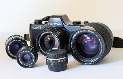 Photograph - Asahi Pentax Auto 110 Mini Camera And Lenses by Melany Sarafis