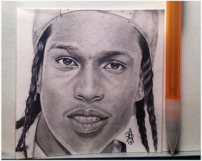 Rihanna Drawing - Asap Rocky Post-it Drawing by Angelee Borrero