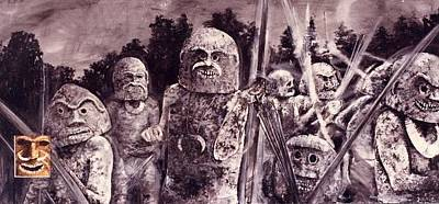 Mudman Painting - Asaro Mudmen by Wayne Edwards