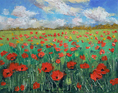 Poppies Field Painting - Ascending by Michael Creese