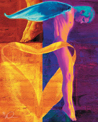Nude Male Painting - Ascension by David Derr