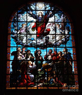 Ascension Of Christ Stained Glass Art Print by Deborah Fay