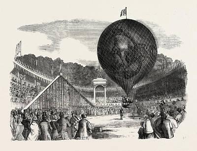 Hamptons Drawing - Ascent Of Mr. Hamptons Erin-go-bragh Balloon by English School