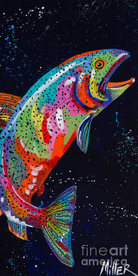 Trout Painting - Ascent by Tracy Miller