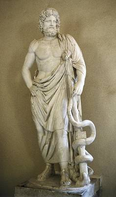 Statue Portrait Photograph - Asclepius. 4th C. Bc. Classical Greek by Everett