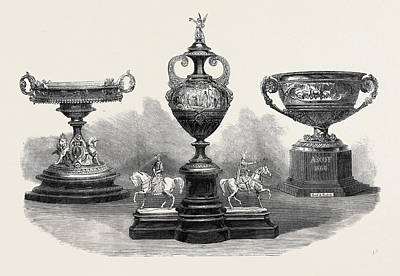 Ascot Races The Queens Gold Cup Left The Ascot Cup Centre Art Print by English School