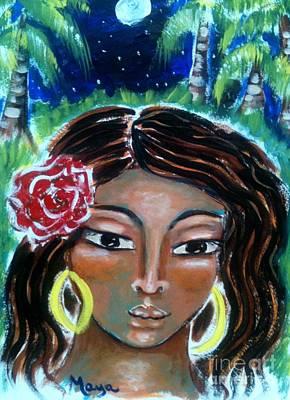 Sacred Feminine Moon Painting - Asenath by Maya Telford