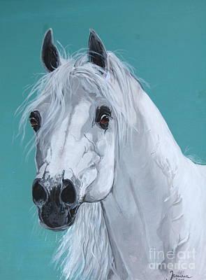 Horse Painting - Asfour Straight Egyptian Arabian by Janina  Suuronen