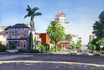 City Scape Painting - Ash And Second Avenue In San Diego by Mary Helmreich