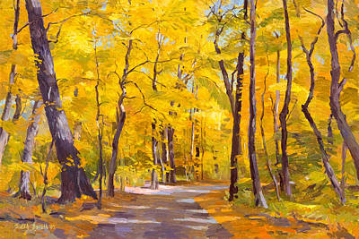Ash Trees At Fall In The Morton Arboretum Art Print