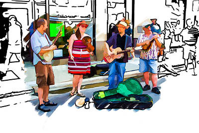 Asheville Mixed Media - Asheville Buskers by John Haldane