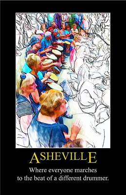 Digital Art - Asheville Drum Circle Poster by John Haldane