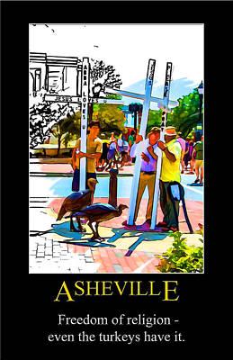 Digital Art - Asheville Freedom Poster by John Haldane