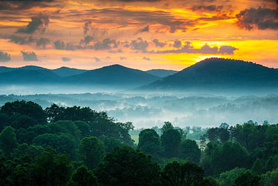 Asheville Nc Blue Ridge Mountains Sunset - Welcome To Asheville Art Print