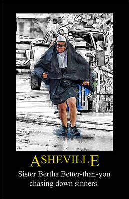 Digital Art - Asheville Nuns Poster by John Haldane