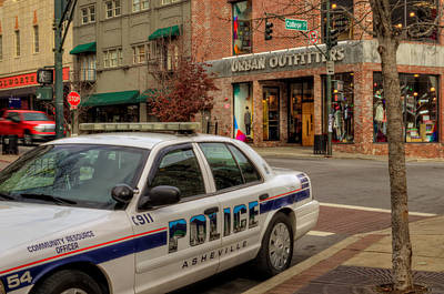 Stop Sign Photograph - Asheville Pd Car 54 by Greg and Chrystal Mimbs