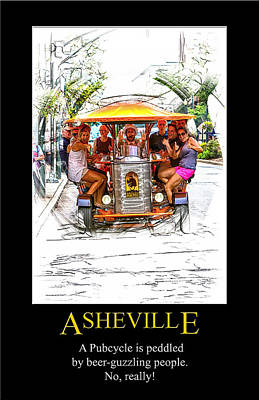 Digital Art - Asheville Pubcycle Poster by John Haldane
