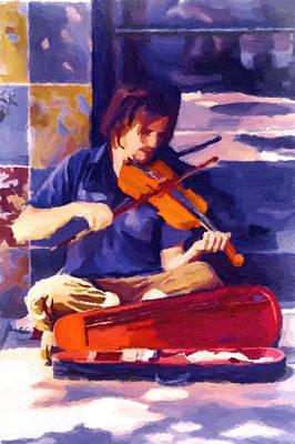 Asheville Street Concerto Art Print by John Haldane