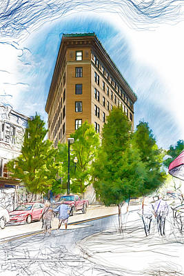 Asheville Drawing - Ashevilles Flat Iron Building by John Haldane
