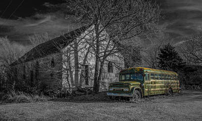 Old School Bus Photograph - Ashton Ks Church by Larry Pacey