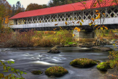 Autumn Scene Photograph - Ashuelot Covered Bridge 3 by Joann Vitali