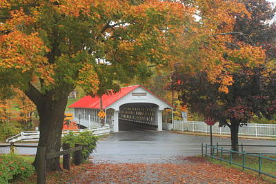Photograph - Ashuelot Covered Bridge Autumn Rain by John Burk