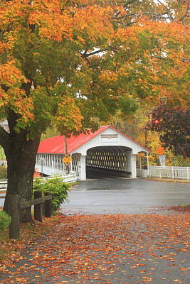 Photograph - Ashuelot Covered Bridge Fall Foliage by John Burk
