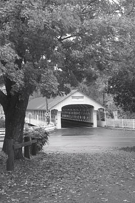 Photograph - Ashuelot Covered Bridge New Hampshire Black And White by John Burk