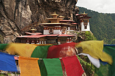 Bhutan Photograph - Asia, Bhutan Prayer Flags Flap by Jaynes Gallery