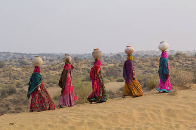 Veiled Woman Photograph - Asia, India, Rajasthan, Manvar, Desert by Emily Wilson