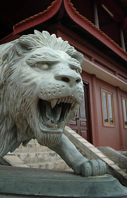 Doc Photograph - Asia, Vietnam Lion Sculpture At Chau by Kevin Oke