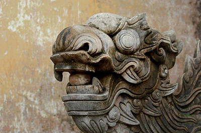 Statuary Photograph - Asia, Vietnam Stone Lion Guarding by Kevin Oke
