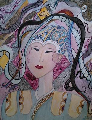 Mixed Media - Asia With The Ribbons by Marian Hebert