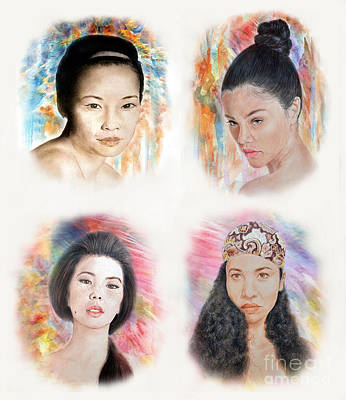 Lipstick Drawing - Asian Beauties  by Jim Fitzpatrick