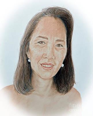 Drawing - Asian Beauty Pusara by Jim Fitzpatrick